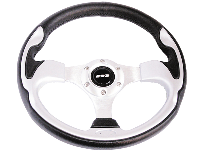 Black Leather With Wood Look Inset Mountney M32X3VV9S  M Range Steering Wheel 320mm In Diameter Silver Anodised Center 3 Spoke